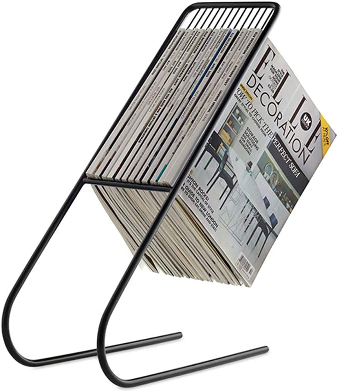 LQQGXLoffice Furniture Wrought Iron Magazine Rack, Creative Landing Book Newspaper Rack (color   A)