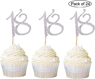 Newqueen 24 Pieces Glitter Number 18 Cupcake Toppers Silver Age Eighteen Cake Picks Decoration for Anniversary 18th Birthday Party