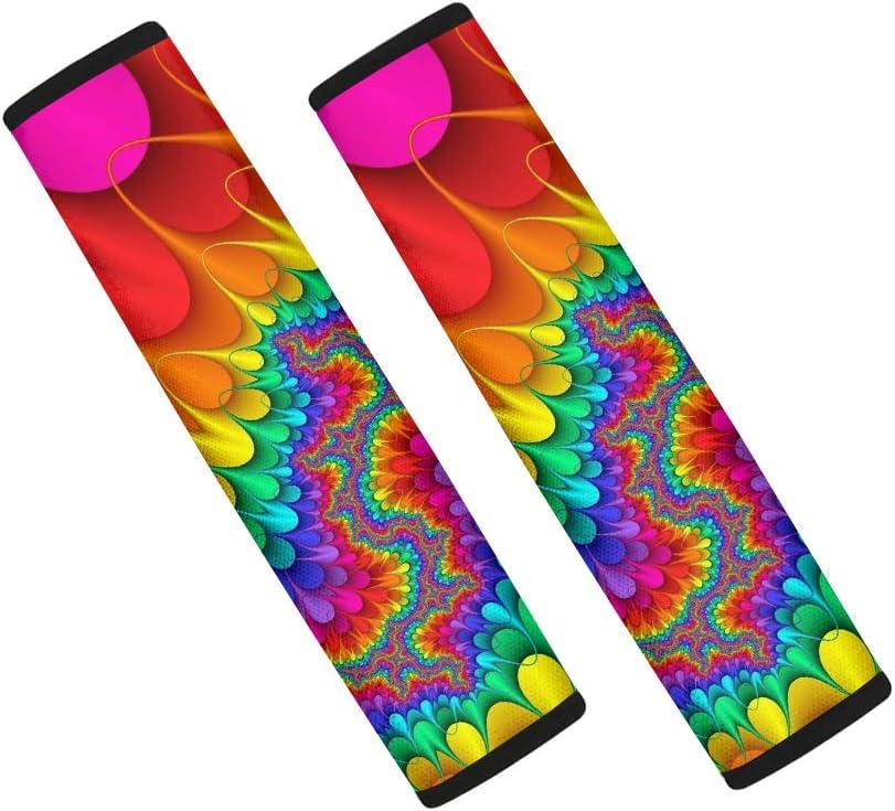 WELLFLYHOM Rainbow Tie Dye Car Seat Belt Pads Cover, 2 Packs Soft Comfort Universal Car Seat Belt Shoulder Pads Strap Covers for Women Girls, Car Seat Belt Cushions, Colorful