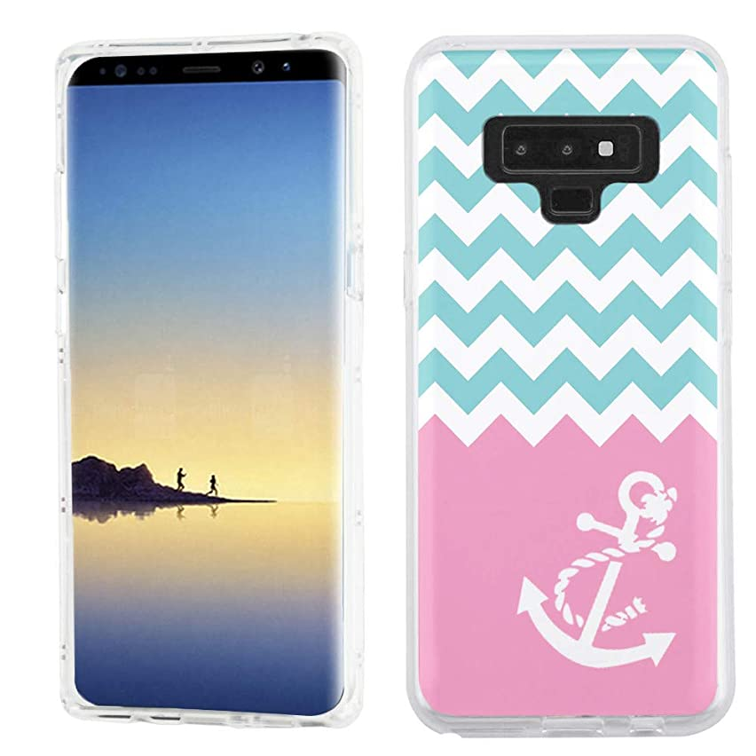 for Samsung Galaxy Note 9 Case, One Tough Shield TPU Gel Protective Slim-Fit Phone Case - Chevron/Teal/Anchor