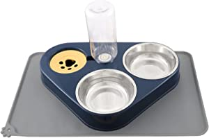 Triple Dog Cat Bowls Set, Two Detachable Stainless Steel Bowls, with Automatic Water Dispenser Plus No Spill Non Skid Waterproof Silicon Mat for Small Medium Size Dog Cat