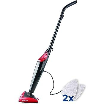 Vileda Steam - Mopa a vapor con cabezal triangular, mopa eléctrica ligera con cable de 6 m, apta para suelos duros y moquetas, color rojo y negro: Amazon.es: Hogar