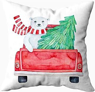 Ducan Lincoln Pillow Case 2PC 18X18,Fundas De Almohada,Vista Posterior Camioneta Retro Personaje Sonriente De Oso Polar De Invierno Que Lleva Fundas De Almohada De Sofá Verde,Fundas De Almohada