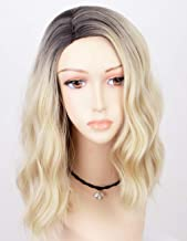Persephone 2019 Ombre Blonde Bob Wig Synthetic Fiber Short Wavy Wigs for Women Glueless 2 Tones 613 Hair Replacement Wigs with Brown Roots Heat Resistant