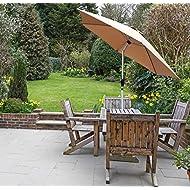 GlamHaus Garden Parasol Tilting Table Umbrella, UV 40+ Protection, 2.7m, Crank Handle, Gardens and Patios - Robust Aluminium (Sand)