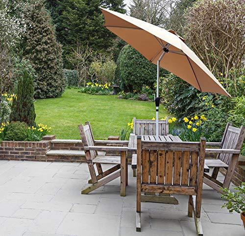 GlamHaus Garden Parasol Tilting Table Umbrella, UV 40+ Protection, 2.7m, Additional Parasol Protection Cover, Crank Handle, Gardens and Patios - Robust Aluminium (Sand)