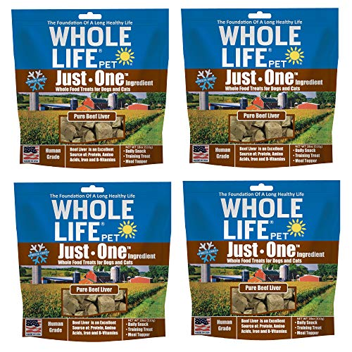 Whole Life Pet USA Sourced and Produced Human Grade Freeze Dried Beef Liver Dog and Cat Treat Value Pack, Protein Rich for Training, Picky Eaters, Digestion, Weight Control, 4 Bags of 18 Ounce, BL822