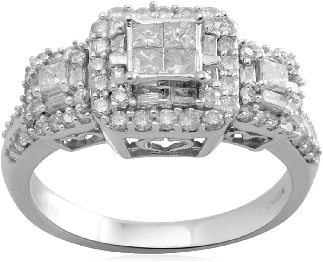 Jewelili 10K White Gold Princess Cut Center Diamond Engagement Ring (1 cttw)