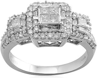 10K White Gold Princess Cut Center Diamond Engagement Ring (1 cttw)