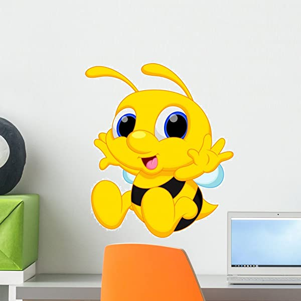 Wallmonkeys Cute Baby Bee Cartoon Wall Decal Peel And Stick Graphic 18 In H X 15 In W WM160910