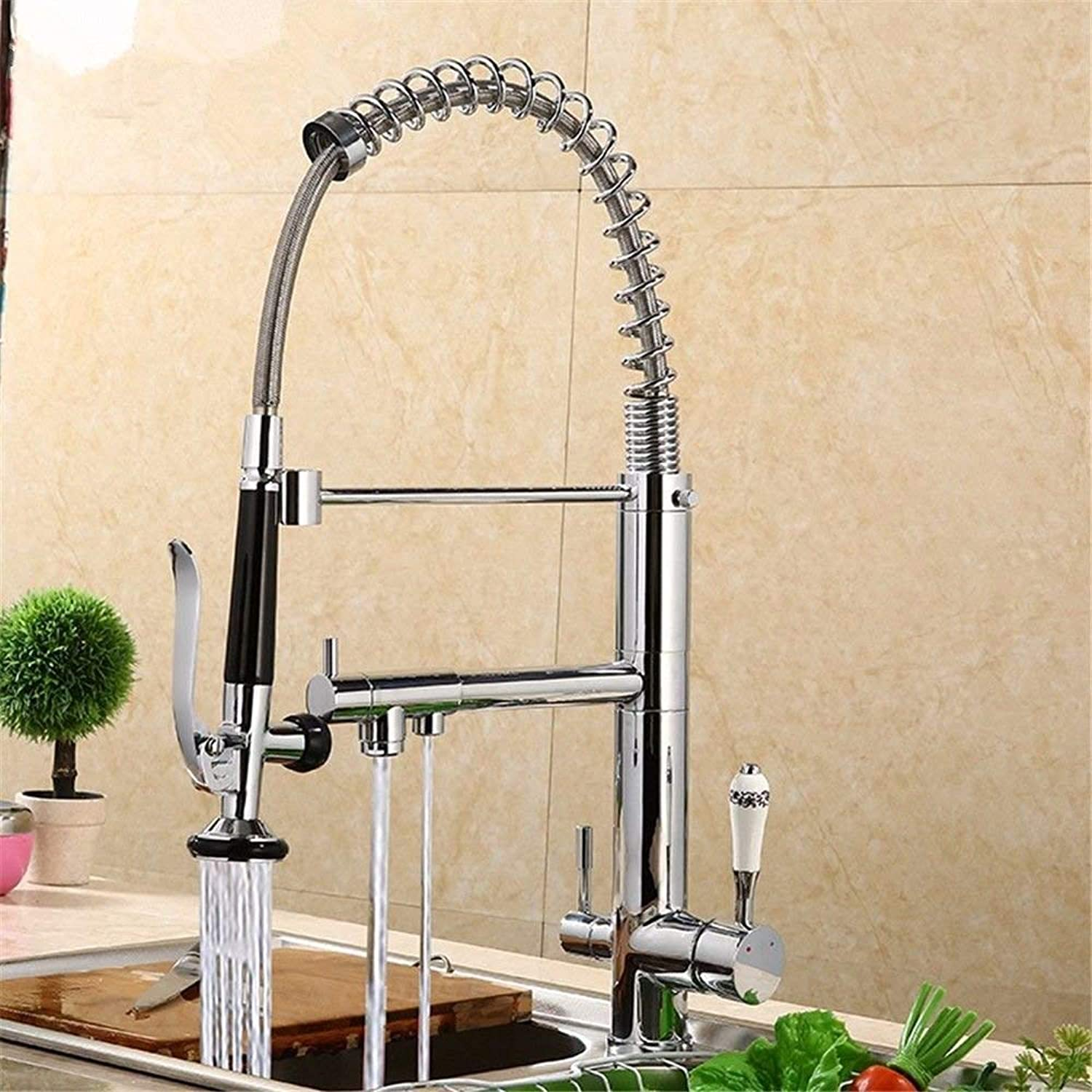 Oudan Bathroom Sink Basin Tap Brass Mixer Tap Washroom Mixer Faucet The copper hot and cold chrome-colord antique double-tap the water basin bathroom kitchen H