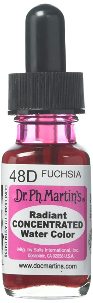 Dr. Ph. Martin's Radiant Concentrated Water Color (48D) Watercolor Bottle, 0.5 oz, Fuchsia, 1 Bottle