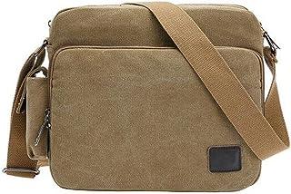 IPOTCH Men's Casual Shoulder Messenger Bag Canvas Crossbody Daypack School Bag