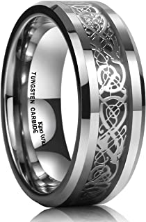 DRAGON Men Tungsten Carbide Ring Wedding Band 8mm Silver Celtic Dragon Inlay Polish Finish