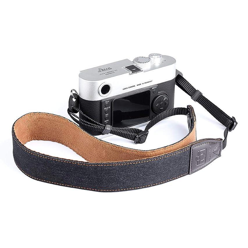 検証チョークアジアカメラ ネックストラップ 一眼レフCanon Nikon Sony デジタル 肩掛けストラップ コンパクト 調節可能 デニム生地 ニコン?ソニー?ミラーレス?キャノン?パナソニック?富士フィルムに対応 ユニバーサル(ブラック)