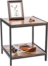 "$27 » 19.7"" Industrial End Table, 2-Tier Side Table with Storage Shelf, Natural Wood Look Accent Furniture, Sturdy Rustic Vintage Brown Metal Frame, Rustic Brown for Living Room Bedroom Nightstand"
