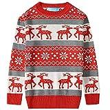 SSLR Big Boys' Reindeer Snowflake Pullover Crewneck Ugly Christmas Sweater (Medium(10-12), Red Grey)