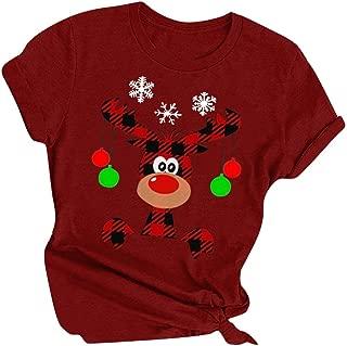 Women Christmas T-shirt, Ladies Round Neck Xmas Cartoon Printed Short Sleeve Blouse Tops