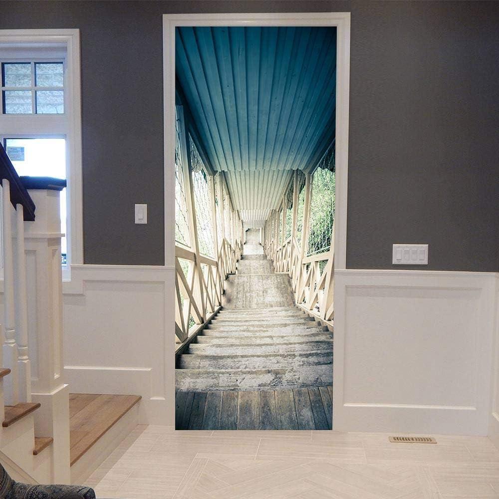 Amazon 3dドアステッカーhdプリント屋内ドア壁画壁紙取り外し可能な自己接着ビニール壁デカールポスターdiyアーティスト家の装飾階段風景pvc壁画 77cmx0cm ウォールステッカー オンライン通販