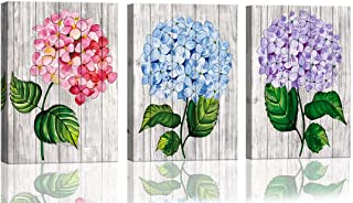 Rustic Wall Decor Watercolor Hydrangea Flower Wall Pictures for Bedroom Wall Decor 3 Piece Framed Wall Art for Women Kitchen Decor Rustic Theme Room Decorations Painting Canvas Art 12x16inchx3pcs