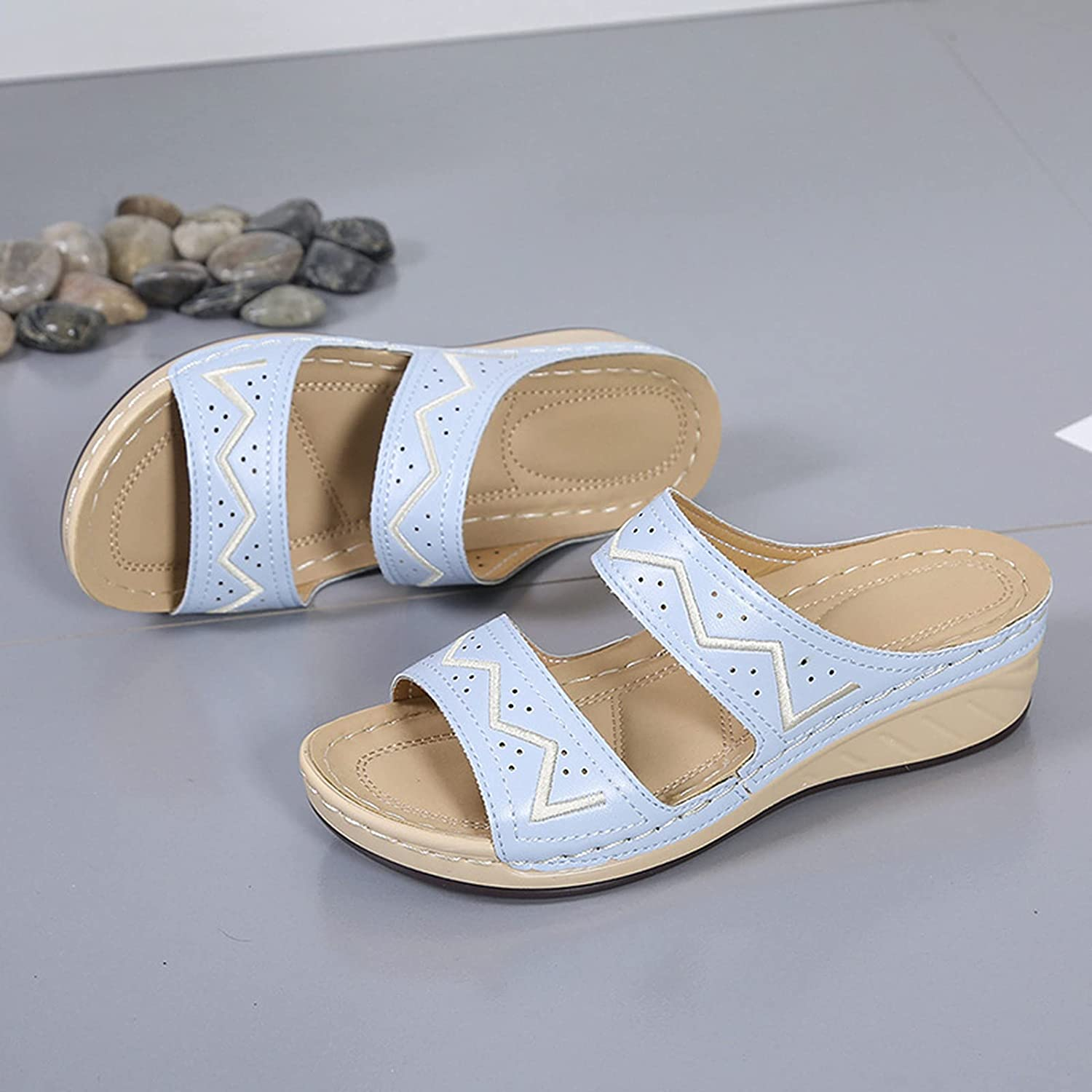 HHZY Women Selling 2021 spring and summer new Mule Clogs Shoes Sanda Summer Wedges Embroidered 2021
