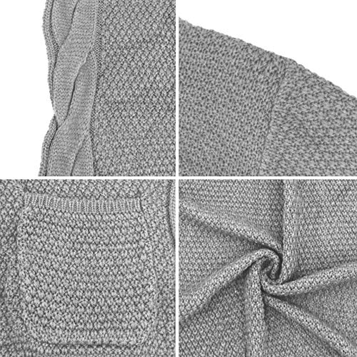 Traleubie Womens Open Front Cardigan Pockets Cable Knit Long Sleeve Sweaters Warm Tops Grey M
