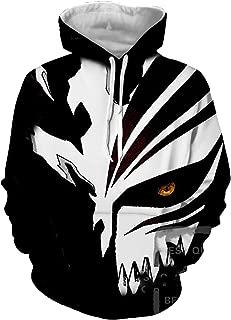 2018 Bleach 3D Print Mens Hoodies Striped Mask Casual Soild Popular Hooded