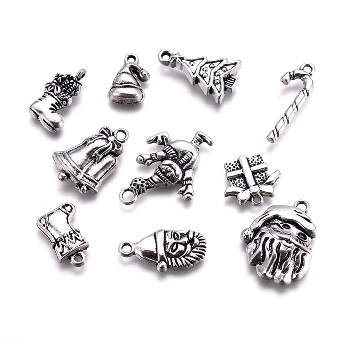 Kissitty 30Pcs Tibetan Antique Silver Christmas Theme Charms Collections Mixed Metal 10 Styles Snowman Santa Claus Sleigh Candy Cane Bell Christmas Tree Pendants 16~29x9~19.5mm