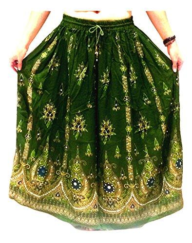 Dancers World Ltd (UK Seller) Damen-Rock im indischen Stil, Hippie-, Zigeuner-, Boho-Stil, mit Pailletten, für den Sommer, Maxi-Rock für Bauchtanz, bunt Gr. 40, Braun (Henna)