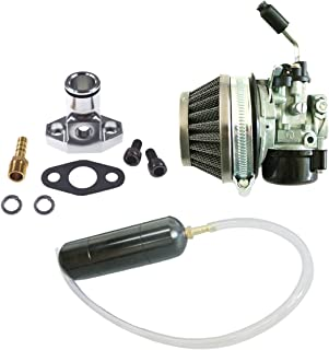 JRL Carburetor Black Gas Power Boost Bottle CNC Intake Manifold Set For 66cc 80cc 2 Stroke Engine Motorised Bicycle Bike