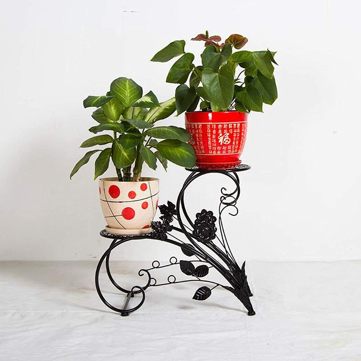 Gifts & Decor Plant Stand Shelf Flower Racks Iron Art Flower Stand Balcony Living Room with Flower Pot Rack Indoor Shelf Three-Dimensional Flower Stand (color   Black)