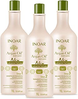 INOAR PROFESSIONAL - Argan Oil Smoothing System Deep Cleansing Shampoo, Smoothing Treatment & Reconstructing Balm - Long-Lasting Smoothing Action for Dry & Uncontrollable Hair (33.8 oz/1000 ml)