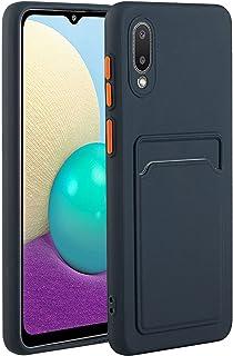حافظة Ffish لهاتف Samsung Galaxy A02 / M02 + حامل للهاتف الخلوي، مع فتحة بطاقة حماية فائقة النحافة وخفيفة من البولي يوريثا...