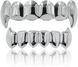JINAO 18K Gold Silver Plated Hip Hop Vampire Fangs Teeth Grillz Set
