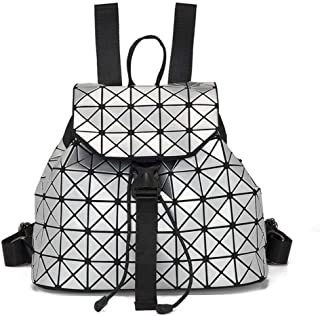 Asdfnfa Backpack, Geometric Fashion Women Backpack Luminous Ladies Rucksack Purse Lingge Fashion School Backpack Casual Daypacks Holographic (Color : Silver)