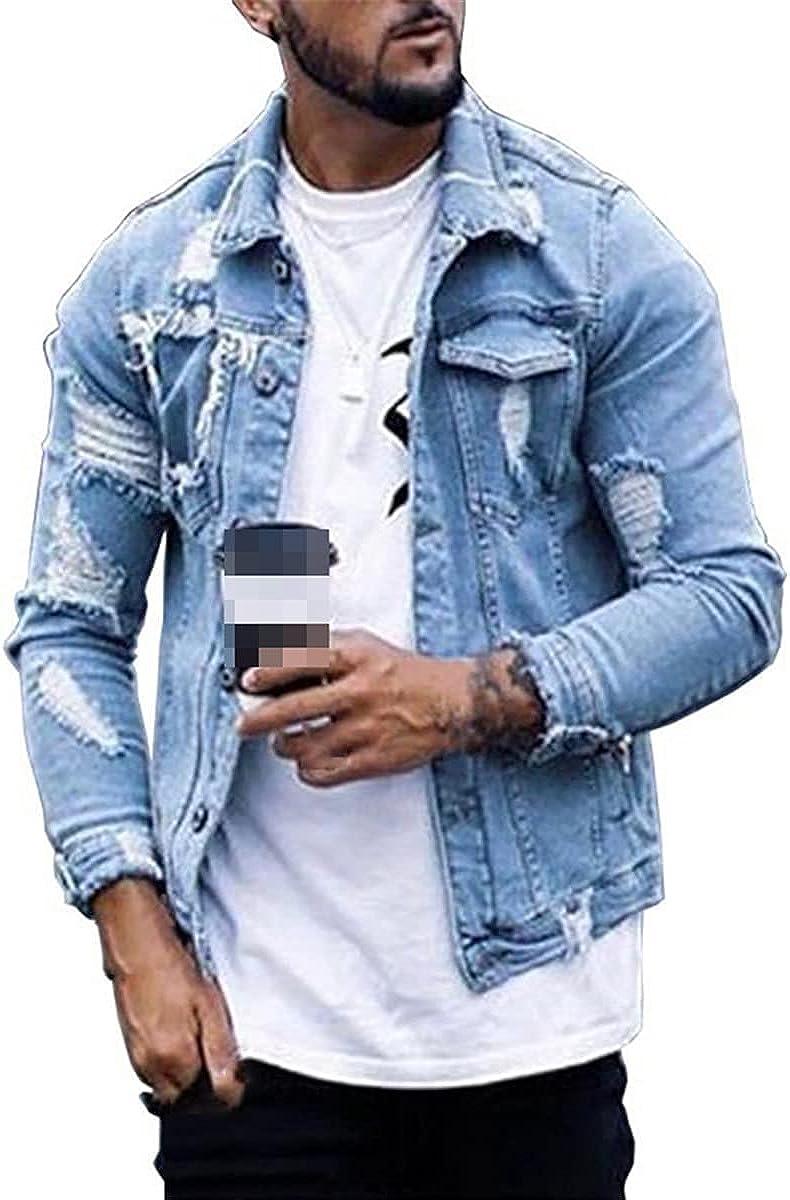 Short Denim Jacket Men's Fashion Button Jacket Streetwear Ripped Denim Jacket Hip Jacket Motorcycle Jacket