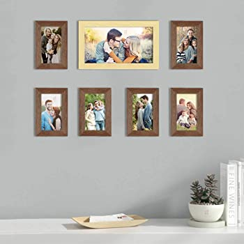 Art Street Set of 7 Brown & Beige Wall Photo Frame, Picture Frame for Home Decor with Free Hanging Accessories (Size -4x6, 6x10 Inchs)