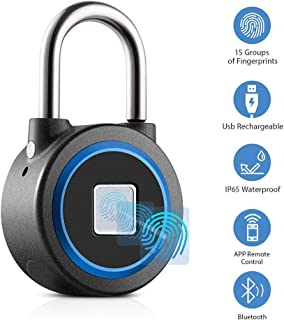 Fingerprint Padlock, Smart Thumbprint Bluetooth Lock Biometric Lock for Gym, Locker, Backpack, Luggage, Suitcase, Office, IP65 Water Resistance, USB Charging, Android/iOS