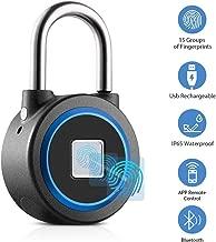 Fingerprint Padlock, Smart Thumbprint Bluetooth Lock Biometric Lock for Gym, Locker, Backpack, Luggage, Suitcase, Office, IP65 Water Resistance, USB Charging, Android/iOS