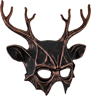 Metallic Finish Pagan Horned God Half Face Mask Cernunnos