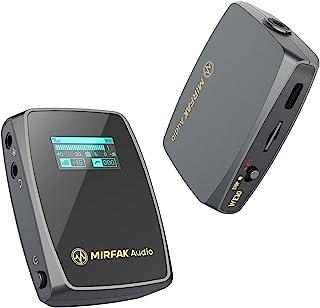 MIRFAK 2.4Gワイヤレスマイクシステム ピンマイクシステム ワイヤレス 外付けマイク カメラマイク デュアルチャンネル対応 デジタル無線マイクロホン 多機能 高音質 50M伝送距離 1台送信機・1台受信機 ラベリアマイク付属 液晶ディス...