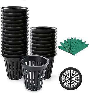 GROWNEER 100-Pack 2 Inch Garden Slotted Mesh Net Cups, Heavy Duty Net Pots with 100Pcs Plant Labels, Wide Lip Bucket Basket for Hydroponics
