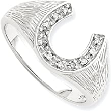 925 Sterling Silver Diamond Band Ring Man Horseshoe Fine Jewelry Dad Mens Gift Set
