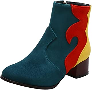 AbbyAnne Ankle Boots for Women Chunky Heel Stacked Booties