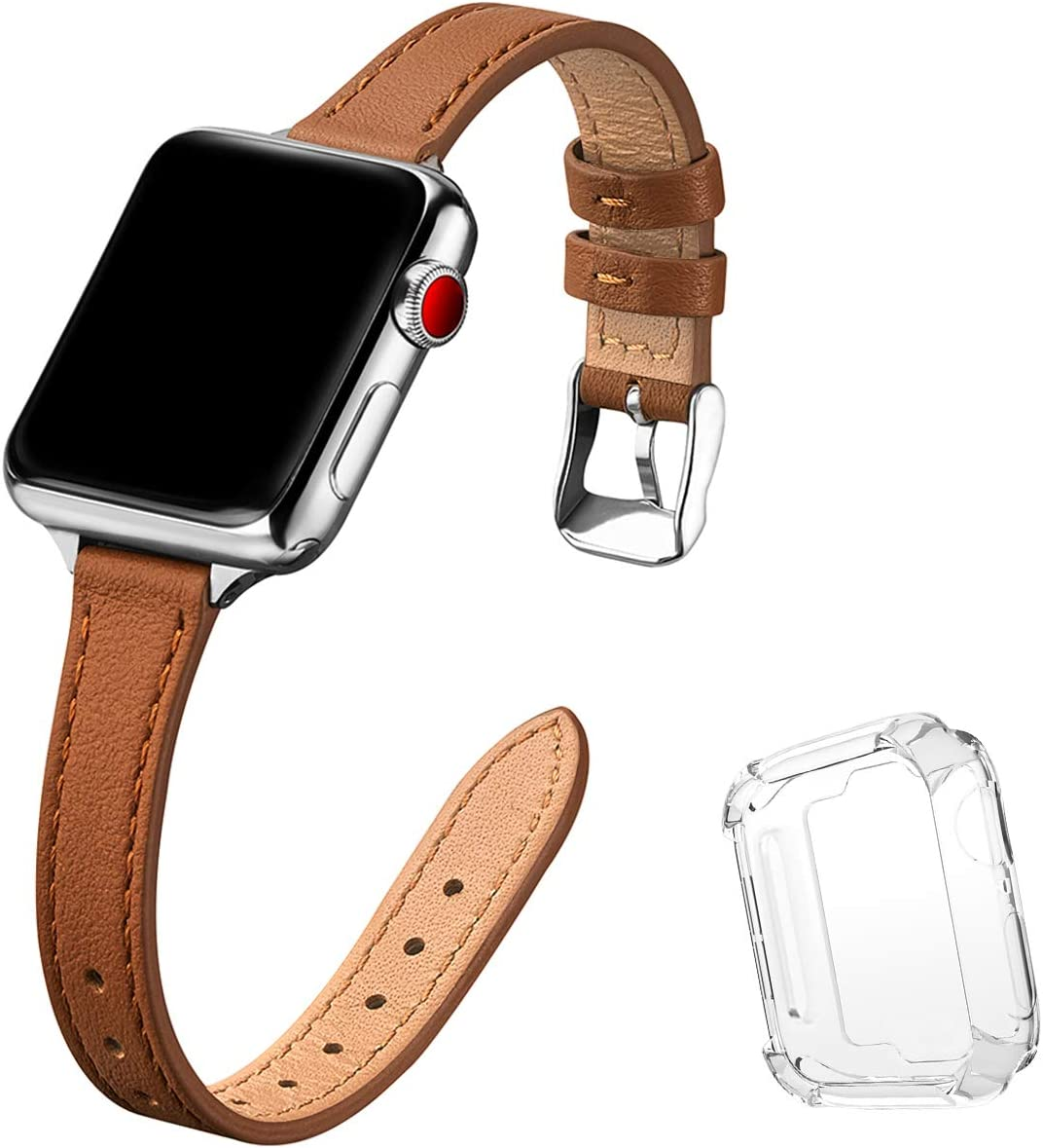 STIROLL Slim Leather Bands Compatible with Apple Watch Band 38mm 40mm 42mm 44mm, Top Grain Leather Watch Thin Wristband for iWatch SE Series 6/5/4/3/2/1 (Brown with Silver, 42mm/44mm)