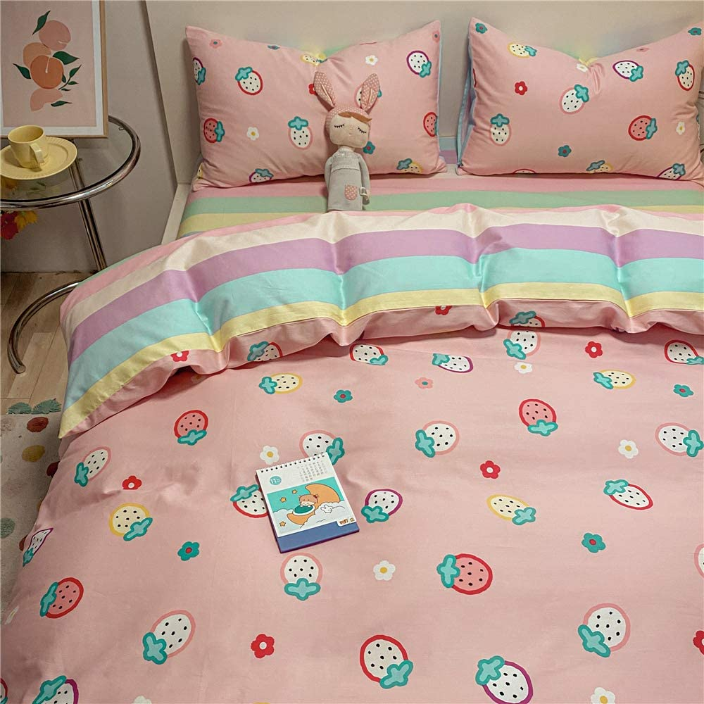 Girls Strawberry Grids Bedding Sets Queen Louisville-Jefferson County Mall Pink Duvet 100% Ranking TOP1 Cover