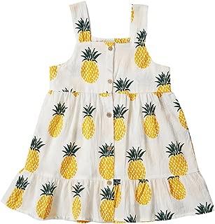 Toddler Girls Dresses Summer Sundress Pineapple Prints Organic 18m-6T