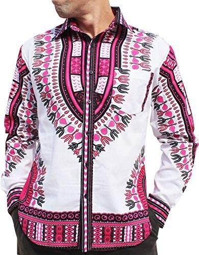 RaanPahMuang Brand Africa Dashiki Boubou Bright Fashion Work Shirt Light Cotton, X-Large, White Pink