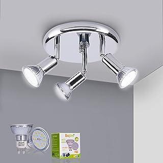 Bojim LuminairePlafonnier Led Orientable 350°, 3SpotsPlafond Chrome, 3 x 6W Ampoules GU10 Blanc Neutre 4500K, Luminaire...
