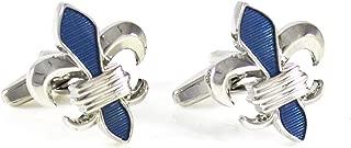 MENDEPOT Fleur De Lis Cuff Links Rhodium Plated Blue Transparent Epoxy Cuff Links in Box